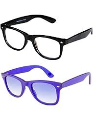 Sheomy Unisex Combo Pack Of Transparent Wayfarer Sunglasses And Light Blue Wayfarer Sunglasses For Men And Women...