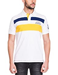 Zovi Men's Cotton White Polo T-shirt With Blue And Yellow Stripes (11875107901)