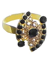 Black And Brown Stone Studded Adjustable Ring - Stone And Metal