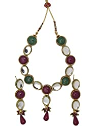 Exotic India Faux Ruby And Emerald Set With Kundan Earring-and-endant-set - Copper Alloy