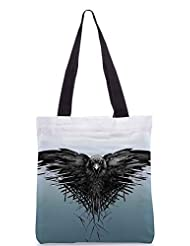 Snoogg Black Scavenger Poly Canvas Tote Bag