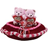 Tickles Red Couple Teddy Sitting On Heart Valentine Stuffed Soft Plush Toy Gift 28 Cm
