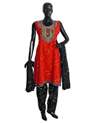 Saffron Tie And Dye Kurta With Mirrorwork And Embroidered Neckline With Black Tie And Dye Salwar And Chunni -...