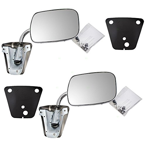 Pair of Manual Side View Chrome Mirrors Replacement for GMC Chevrolet Pickup Truck SUV Van 996220