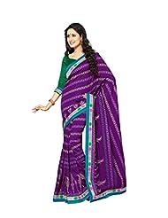 De Marca Purple Raw Silk Designer 2273 Saree