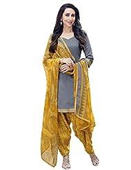 Desi Look Women's Grey Cotton Patiyala Dress Material With Dupatta - B018QVHHB4