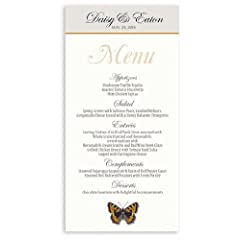 25 Wedding Menu Cards - Butterfly Burnt Orange Sky