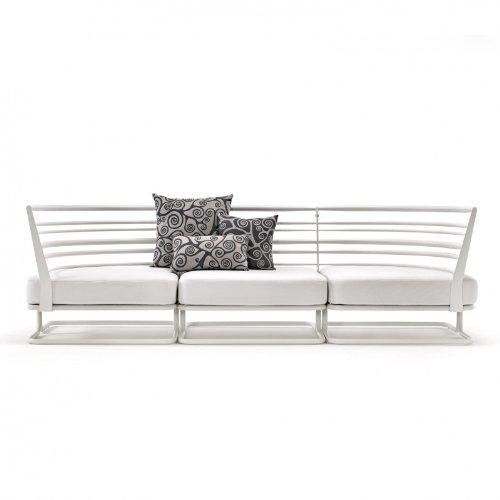 Marcel Outdoor Sofa 3 Sitzer weiß/inkl. Sitz/Dekokissen/inkl. 3 verschiedengroßen Decokissen