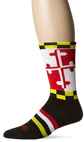 SockGuy Men's Lax Maryland Socks, Black, Large/X-Large