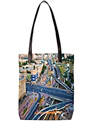 Snoogg Zig Zag Roads Womens Digitally Printed Utility Tote Bag Handbag Made Of Poly Canvas With Leather Handle - B01HI2OO9U