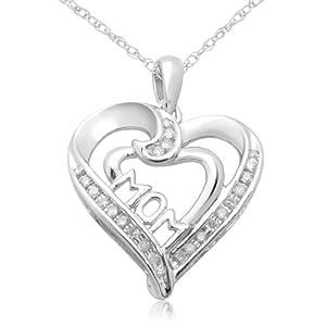 "10k White Gold ""MOM"" Heart Diamond Pendant (0.05 cttw, I-J Color, I2-I3 Clarity), 18"""