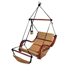 Reviews Tan Hammock Hanging Chair Porch Patio Swing With Wooden Armrest Cheap Btwiopbs