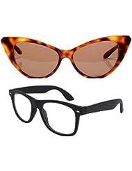 New Stylish UV Protected Combo Pack Of Sunglasses For Women / Girl ( BrownCateye-ClearBlackWayfarer ) ( CM-SUN...