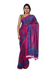 Chandan Sarees Self Print Pink With Multi Print Saree