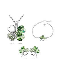 Green Heart Clover Pendant Necklace With Chain And Stud Earring And Bracelet Set
