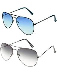 MagJons Black And Blue Aviator Sunglasses Set Of 2 (With Box)