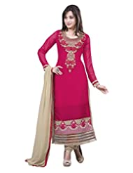 Surat Tex Pink Color Casual Wear Embroidered Pure Georgette Semi-Stitched Salwar Suit