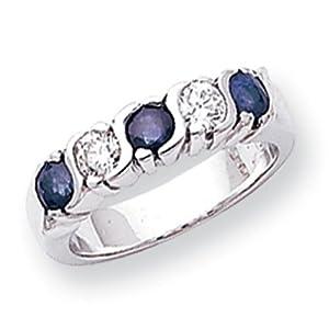 IceCarats Designer Jewelry Size 6.5 14K White Gold 3.5Mm Sapphire Aa Diamond 5-Stone Ring