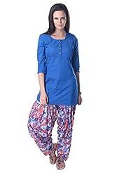 Vastra Vinod Blue Solid Cotton Kurti - B00TIBNRNE
