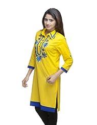 Avishi Women's Designer Hand Embroidered Aari Work Cotton Cambric Yellow Kurti (Avi99)