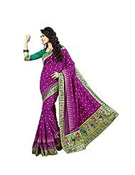 De Marca Purple Raw Silk Designer 2244 Saree