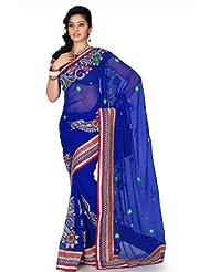 Designersareez Women Chiffon Embroidered Royal Blue Saree With Unstitched Blouse(1196)