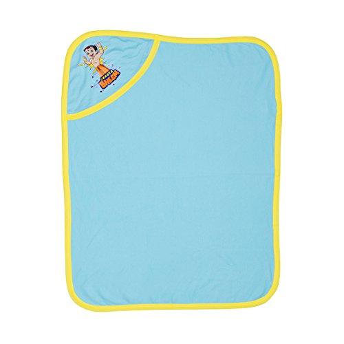 Chhota Bheem Plain Cotton Soft Blue Color Baby Hooded Wrapper For New Born - B01J5KKY9M