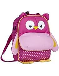 Kids Pink Owl Lunch Bag Backpack With Adjustable Straps