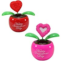 Lovers Gift Set Of 2 ~ 1 Red Heart In Red Pot + 1 Pink Heart In Pink Pot Solar Toy Valentines Day Flowers Holiday...