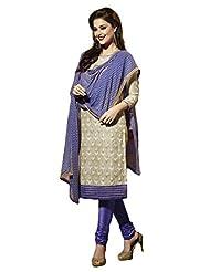 Ninecolours Chanderi Cotton Silk Straight Suit In Beige Colour