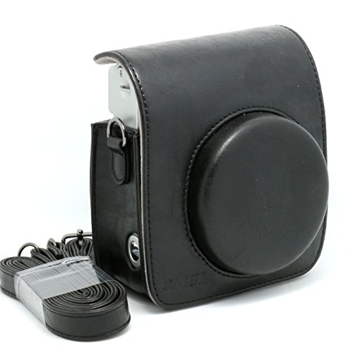 CAIUL Vintga PU Leather fuji mini case for Fujifilm Instax Mini 90 Case bag----Black