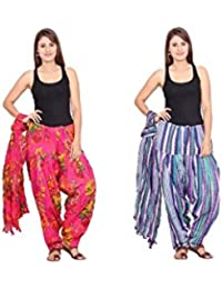 Rama Set Of 2 Printed Blue & Pink Colour Cotton Full Patiala With Dupatta Set