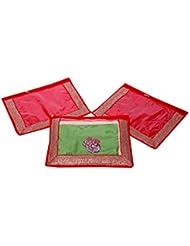 Kuber Industries Single Packing Saree Cover Set Of 3 Pcs (Designer Lace) - B01K72OIGM