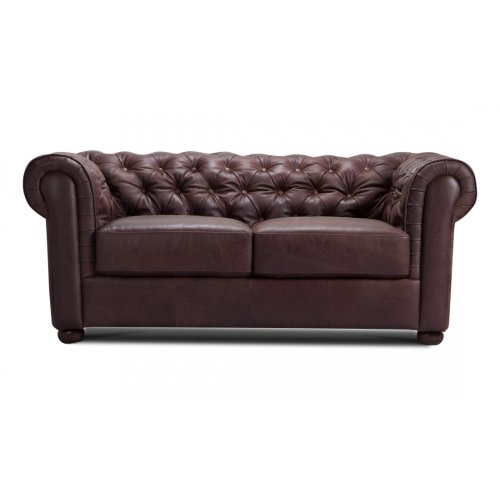 FASHION FOR HOME 2-Sitzer Sofa Chesterfield Anilinleder Braun