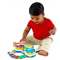 Smiles Creation Educational Drum Musical Handheld Toy For Kids, Lights And Music + Poems + Color And Shape Quiz