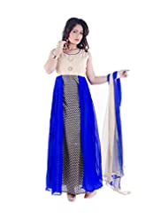 Sharmili Womens Georgette & Printed Cotton Fabric Anarkali Salwar Suit / Maxi Dress