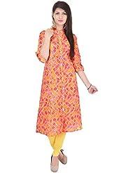 Bright Cotton Kurtis For Women (Cotton , Green , Multicolor , Banded Collar ) BCRMF-5139-V