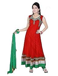 Divinee Red Net Readymade Anarkali Suit - B0136DAH2S