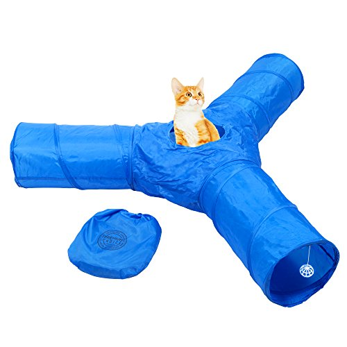 Cat Tunnel Toy - 3 Way Fun Run to Keep Kitty Entertained, Exercising and Playing Games.