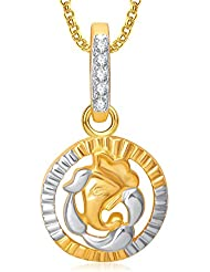 Amaal Ganesha Ganpati God Pendant With Chain For Men,Women Gold Plated In American Diamond Cz Jewellery GP0276
