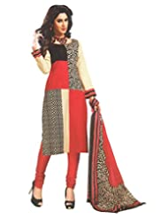 Namaskaar India Chic Red & Black Printed Salwar Suit Dupatta Material For Women