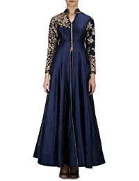 Pushty Fashion Womens Navy Blue Anarkali Suit Silk Semistiched
