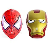 Combo Of Super Hero Spiderman & Hulk Mask With Light & Music For Parties (multi)