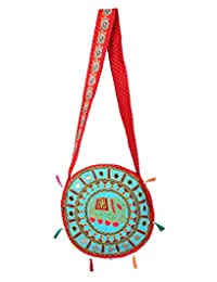 Traditional Turquoise Embroidered Cotton Elephant Sling Bag By Rajrang