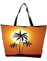 Snoogg Vector Summer Illustration With Palm Trees Waterproof Bag Made Of High Strength Nylon