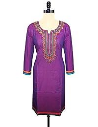 Unnati Silks Women Pracheen Kala Purple Cotton Kurta With Embroidery