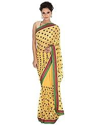 Bachhawat Women's Pure Chiffon Saree (Saumya_18004, Yellow)
