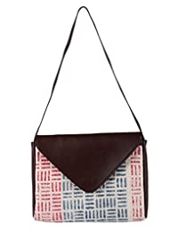 Trendy Basket Weave White Cotton & Faux Leather Printed Sling Bag By Rajrang