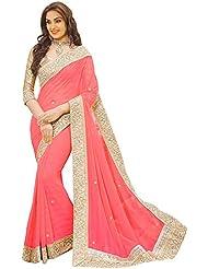 Sonani Fashion Designer Georgette Pich Color Party Wear Saree With Blouse Piece