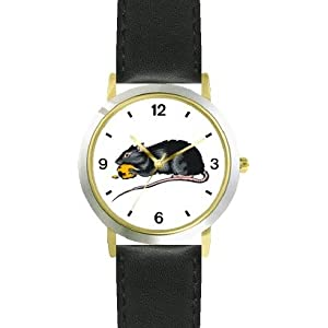 Black Mouse or Rat with Cheese Animal - WATCHBUDDY® DELUXE TWO-TONE THEME WATCH - Arabic Numbers - Black Leather Strap-Size-Women's Size-Small